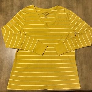 👚XL Olive Green Thermal Striped Long Sleeve Top